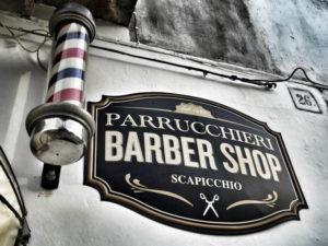 Insegna per Barber Shop Scapicchio di Bovino Provincia di Foggia realizzata da Insegne Antiche