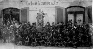 Distributore di benzina e Emporio Cacciatore con banda Balilla - Marcato San Severino - anni '30