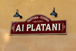 """Insegna per la Trattoria Pizzeria """"I Platani"""""""