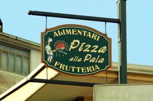 Insegna per l'Alimentari Frutteria Pizza alla Pala