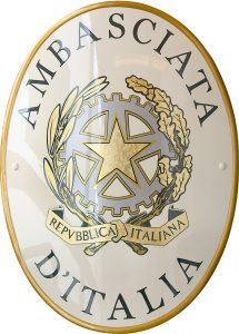 Stemma Ambasciata Italia versione gold realizzato da Insegne Antiche
