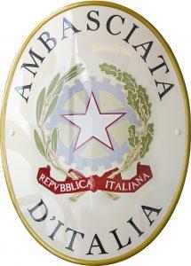 Stemma Ambasciata Italia versione old realizzato da Insegne Antiche