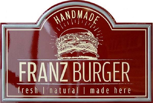 Insegna Hamburgeria di Roma Franz Burger realizzata da Insegne Antiche