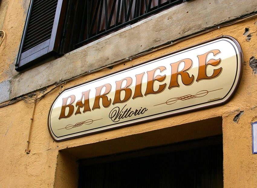Insegna Sopra-vetrina per Barbiere prodotto da Insegne Antiche