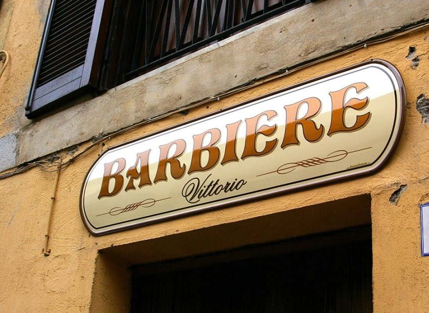 insegna sopra-vetrina per barbiere prodotta da insegne antiche