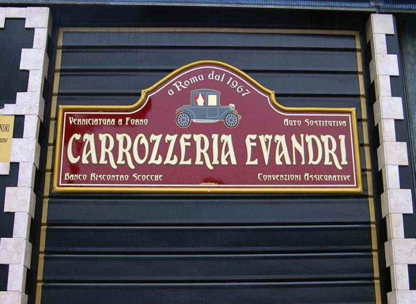 Insegna Sopravetrina per Carrozzeria prodotta da Insegne Antiche